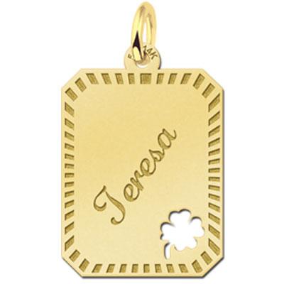 Gouden Naamplaatje Gegraveerde Rechthoek Tekst & Naam En Klavertje Sierrand