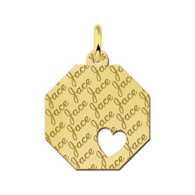 Gouden Naamplaatje Graveren Achthoek Tekst Met Hart Repeat