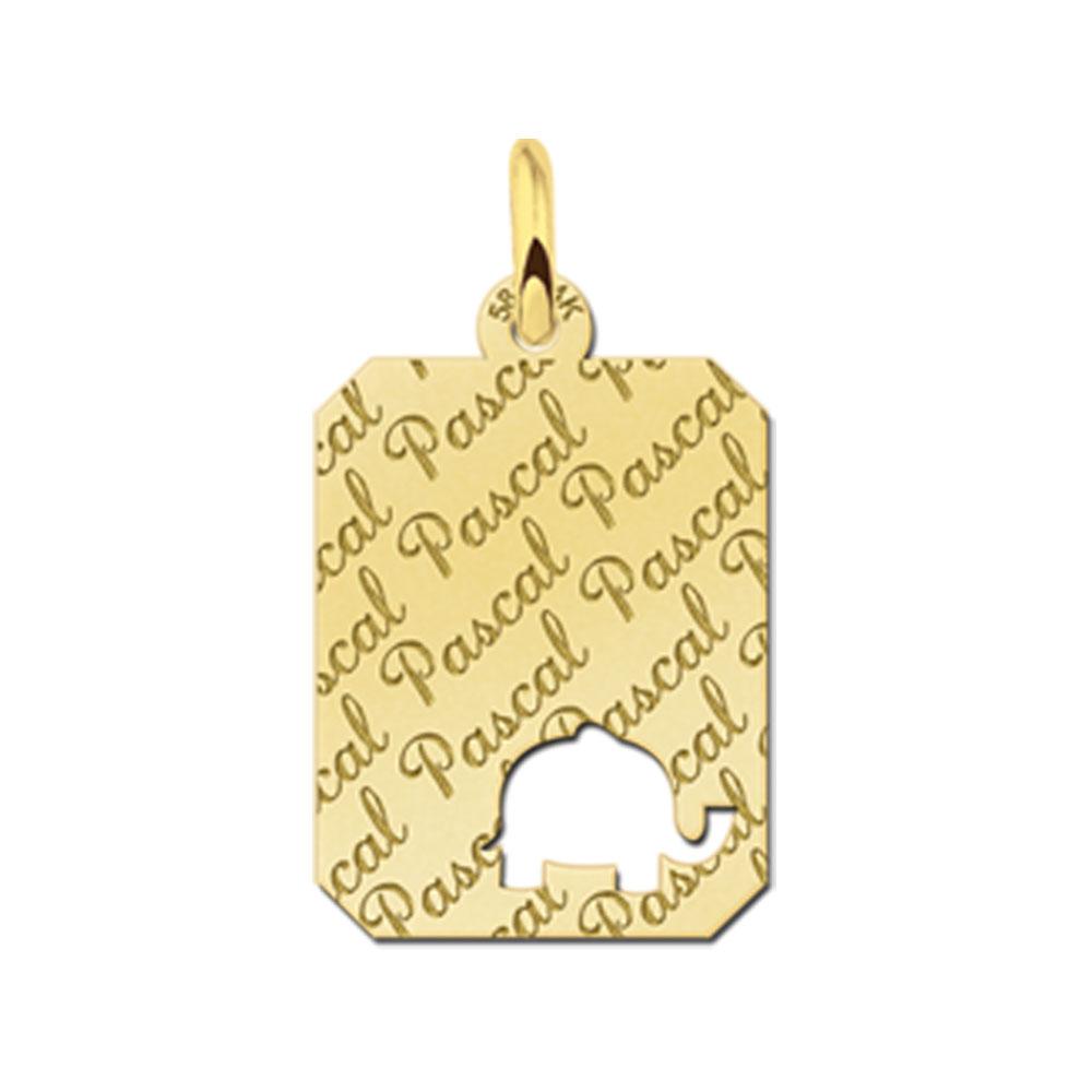 Gegraveerde Gouden Hangertje Repeat Recht Met Olifant
