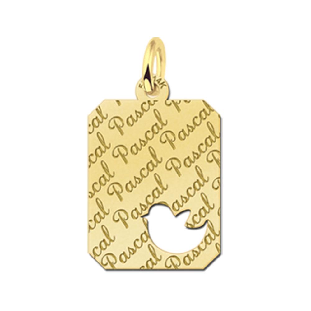 Gegraveerde Gouden Hanger Repeat Recht Met Vogel Gegraveerd
