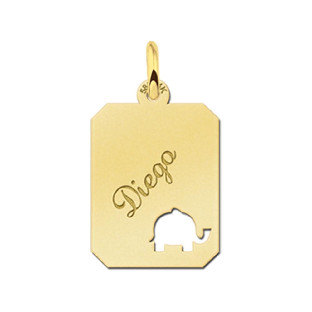 Gegraveerde Gouden Hangertje Recht Met Olifant