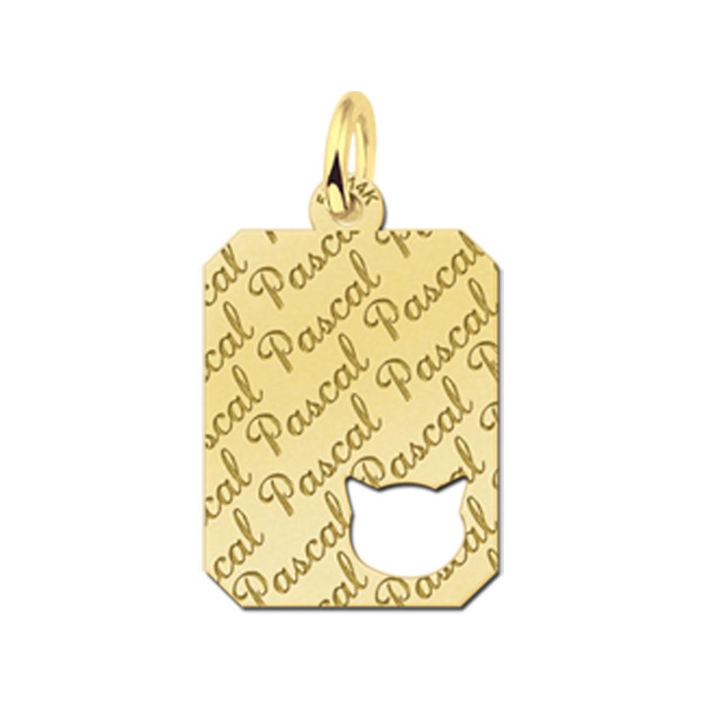 Gegraveerde Gouden Kat Graveerplaatje Repeat Recht