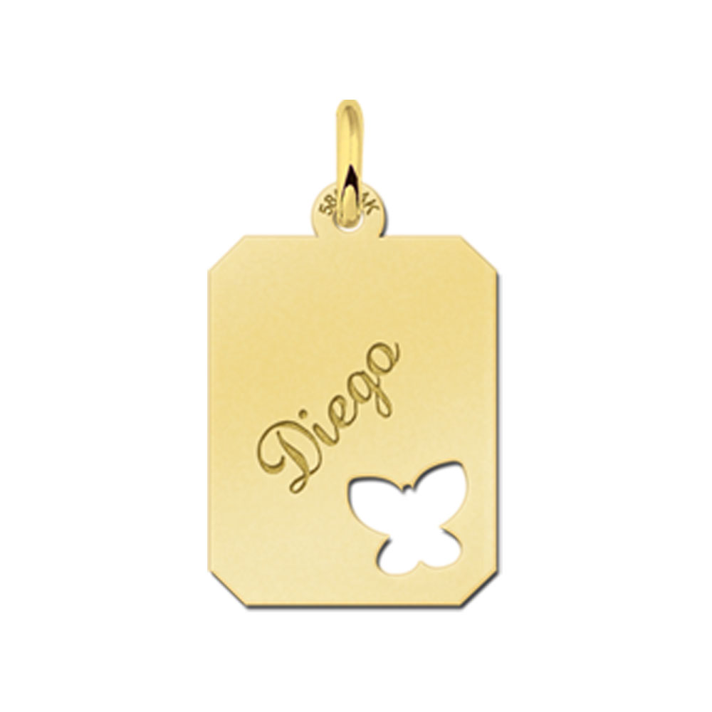 Gegraveerde Gouden Hanger Recht Met Vlinder