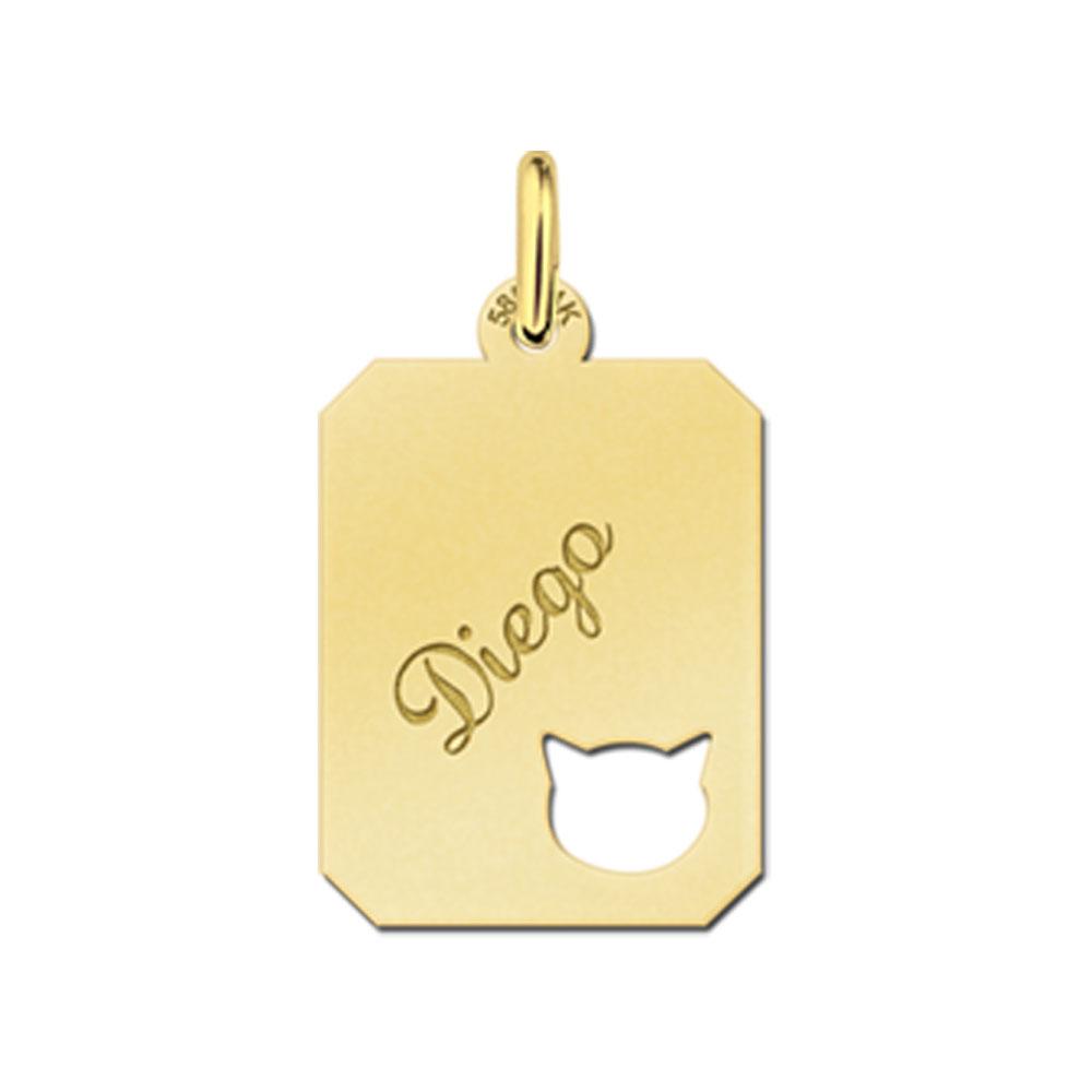 Gegraveerde Gouden Kat Graveerplaatje Recht