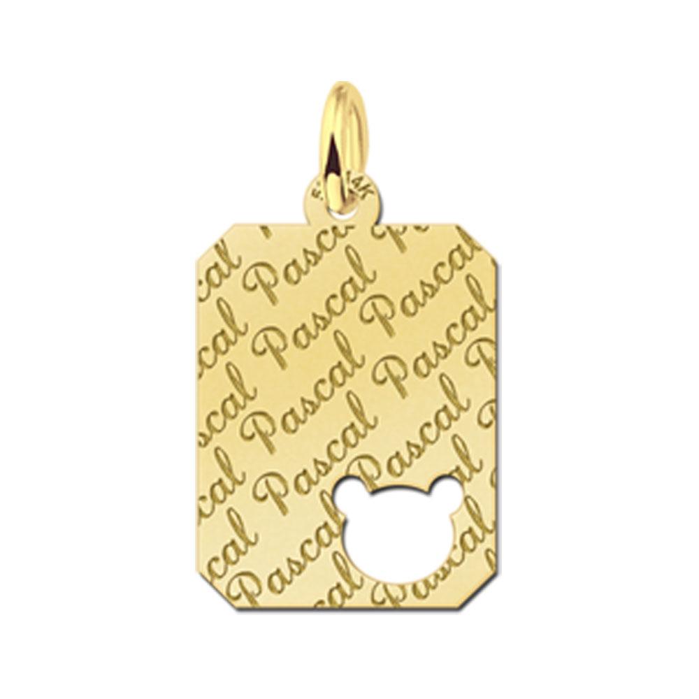 Gegraveerde Gouden Hangertje Repeat Recht Met Berenkop