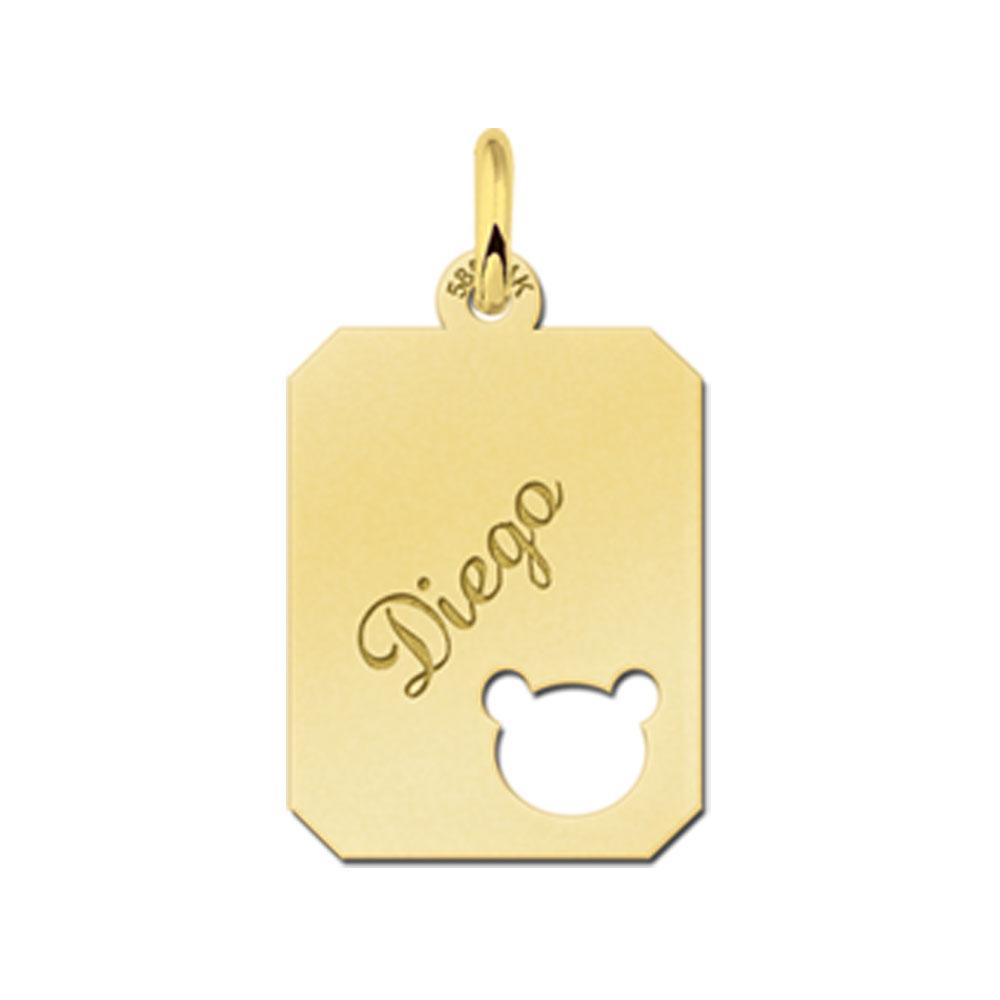 Gegraveerde Gouden Hangertje Recht Met Berenkop