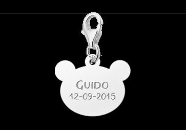 Graveer Hier☝️Jouw Zilveren Bedel Berenkopje Met Naam En Datum ✅