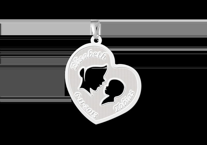 Zilveren moeder kind hanger Gegraveerd