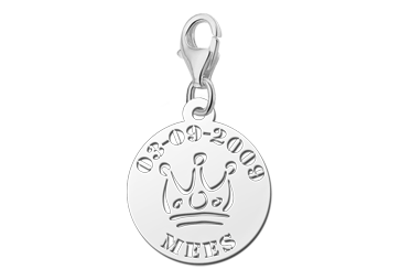 Graveer Hier☝️Jouw Zilveren Bedel Kroontje Met Naam En Datum ✅
