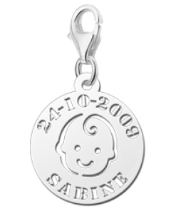 Graveer Hier☝️Jouw Zilveren Bedeltje Babyhoofdje Met Naam En Datum ✅