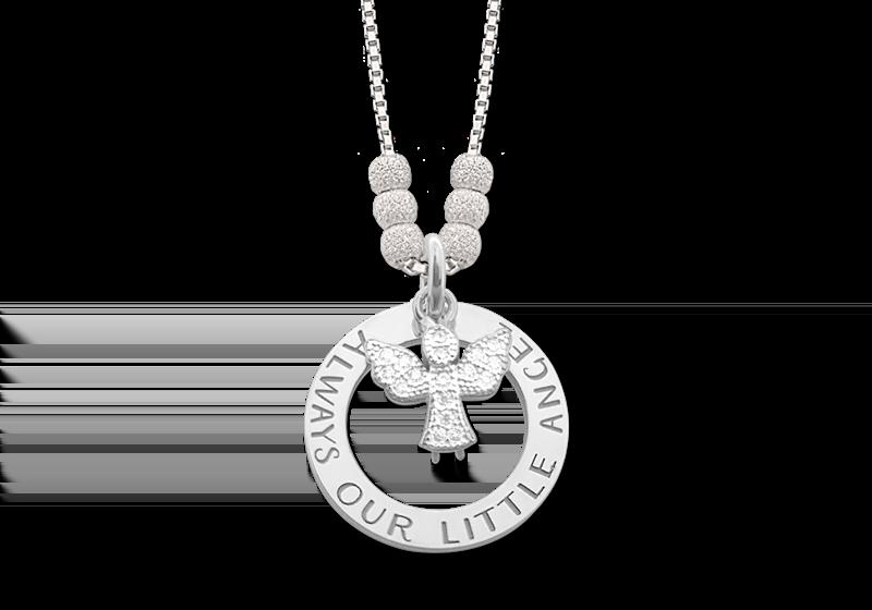 Zilveren mama ketting met engel Gegraveerd
