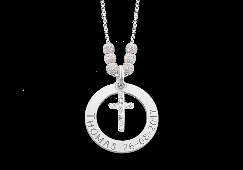 Mama ketting van zilver met kruis Gegraveerd