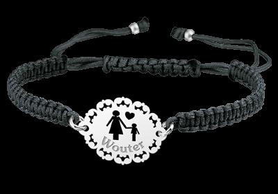 Zilveren shamballa armband moeder-zoon Gegraveerd