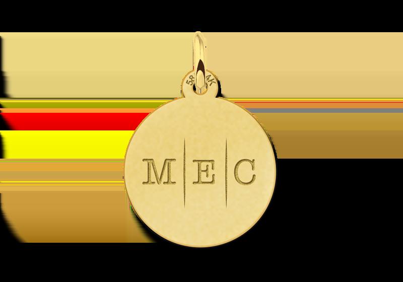 Initial ketting van goud met drie letters