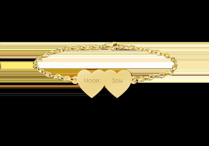 Gegraveerde Armband met twee hartjes van goud