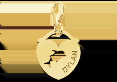 Graveer Hier☝️Jouw Gouden Bedel Dieren Hart Dolfijn Gegraveerd