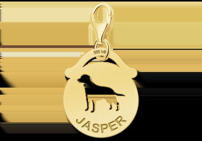 Graveer Hier☝️Jouw Gouden Dieren Bedel Rond Hond Gegraveerd