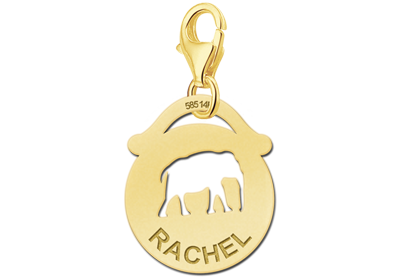 Graveer Hier☝️Jouw Gouden Dieren Charm Rond Olifant Gegraveerd