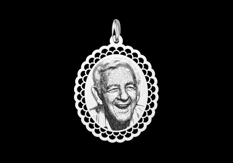 Foto hanger ovaal met sierrand zilver gegraveerd