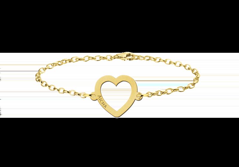 Gegraveerde Gouden armband met hartje