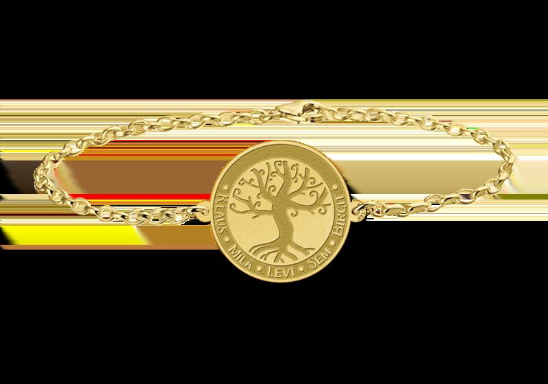 Gegraveerde Gouden armband met levensboom en gravure