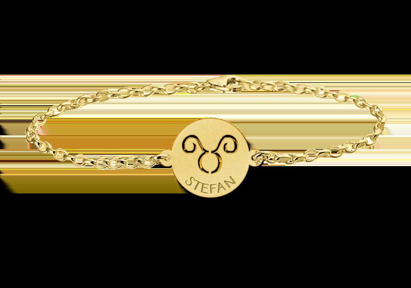 Graveer Hier☝️Jouw Gegraveerde Gouden armband met sterrenbeeld rond Stier ✅