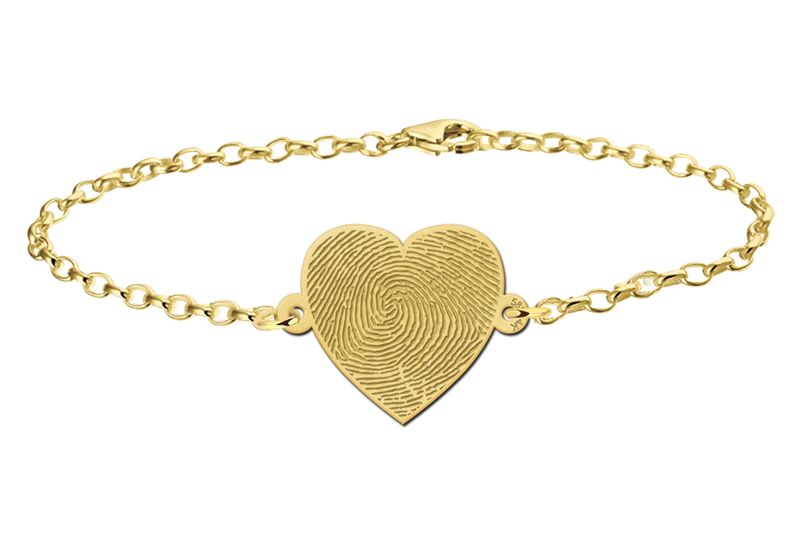 Graveer Hier☝️Jouw Gouden Armband Met Vingerafdruk Hart ✅