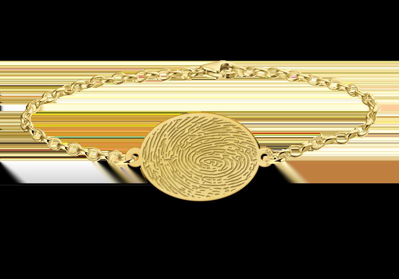 Graveer Hier☝️Jouw Gouden Armband Met Vingerafdruk Ovaal ✅