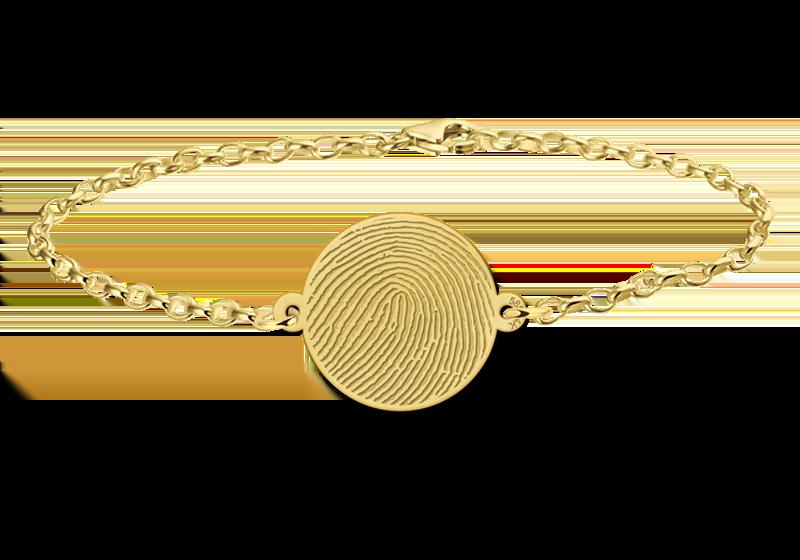 Graveer Hier☝️Jouw Gouden Armband Met Vingerafdruk Rondje ✅