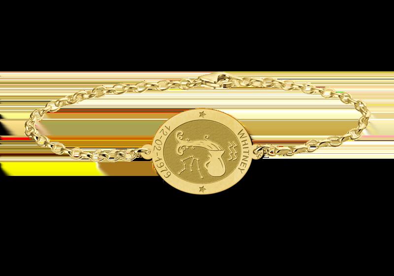 Graveer Hier☝️Jouw Gegraveerde Gouden armband sterrenbeeld ovaal Waterman ✅