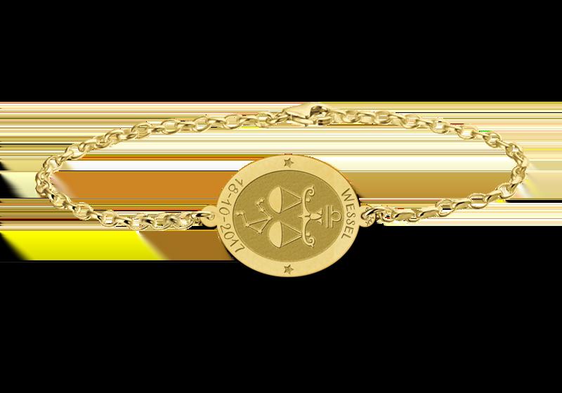 Graveer Hier☝️Jouw Gegraveerde Gouden armband sterrenbeeld ovaal Weegschaal ✅