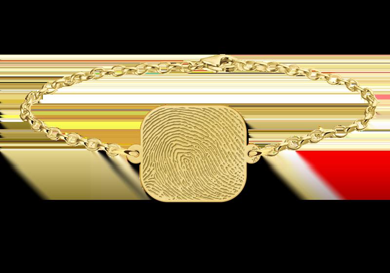 Graveer Hier☝️Jouw Gouden Armband Vingerafdruk Met Rechthoek ✅