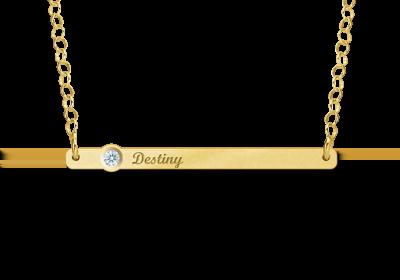 Gouden Bar naamketting met Zirkonia Gepersonaliseerd