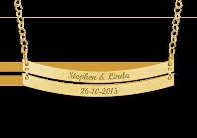 Gouden Bar naamketting rond dubbel Gepersonaliseerd
