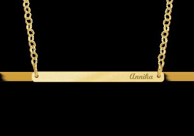 Gouden Bar naamketting small Gepersonaliseerd