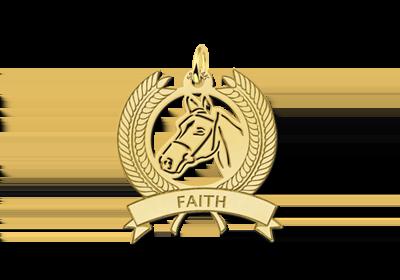 Gouden bedel paardenhoofd en krans