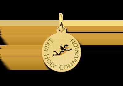 Gouden communie hanger engel
