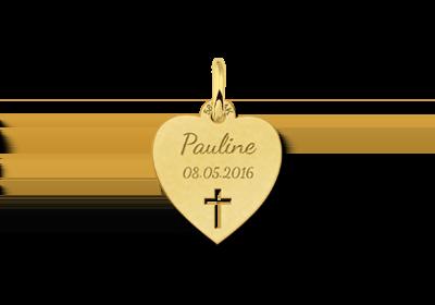 Gouden communie hart met kruis