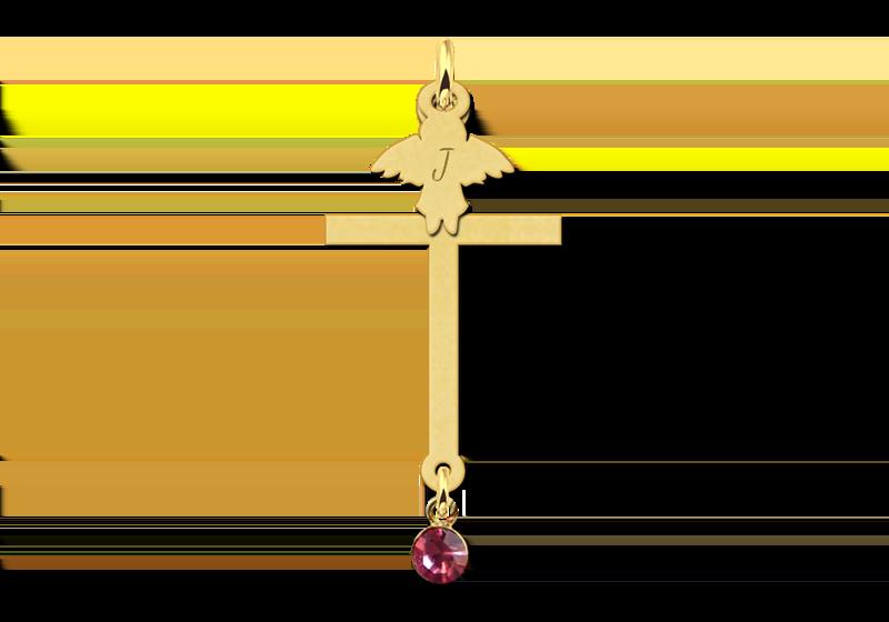 Gouden communie kruis met zirkonia en engel