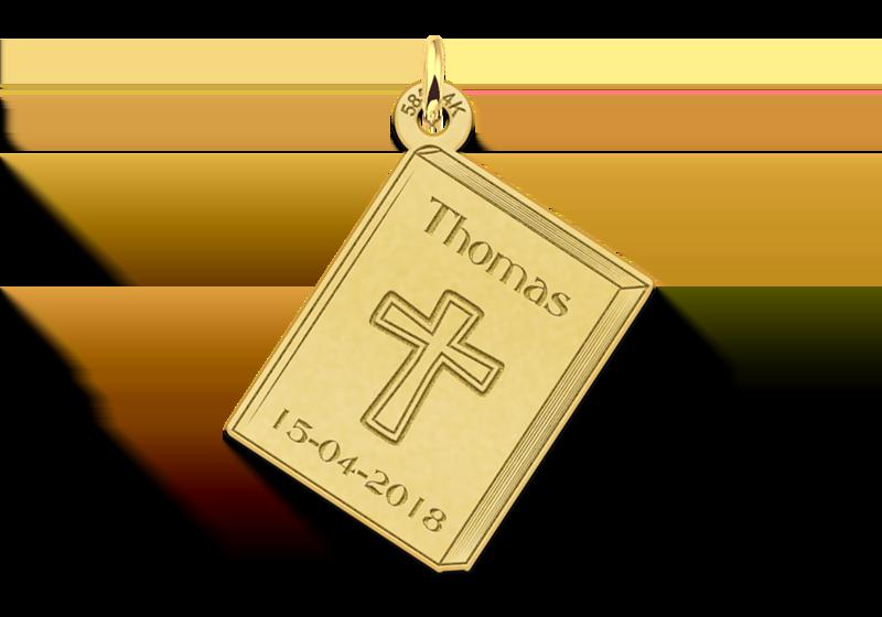 Gouden communiehanger met kruis en gravure