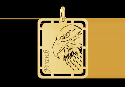 Gouden hanger adelaar graveren met naam