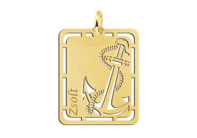 Gouden hanger anker graveren met naam