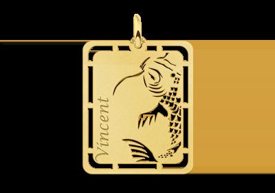 Gouden hanger Koi karper graveren met naam