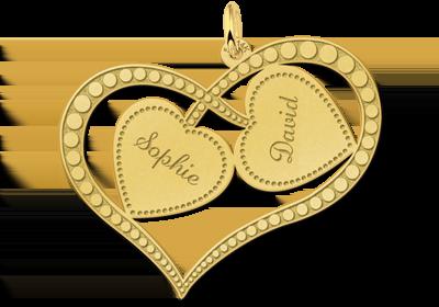 Gouden hanger met twee harten met naam