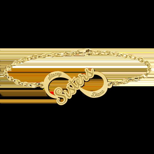 "Gegraveerde Gouden infinity armband ""Sisters"""