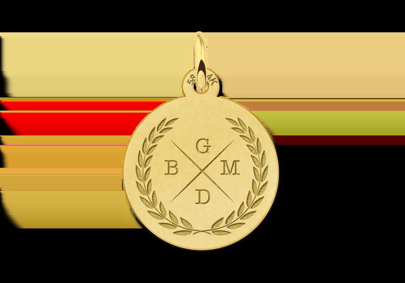 Gouden initialen ketting met vier letters