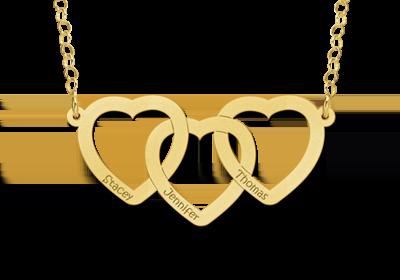 Gouden ketting drie harten met naam Gegraveerd