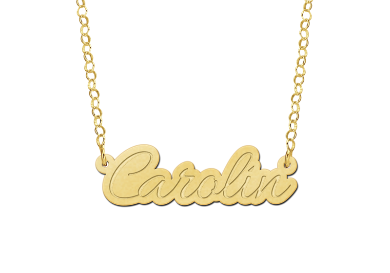 Gouden ketting met naam model Carolin Gepersonaliseerd