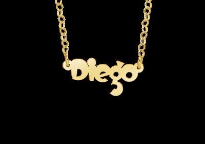 Gouden kinder naamketting model Diego Gepersonaliseerd