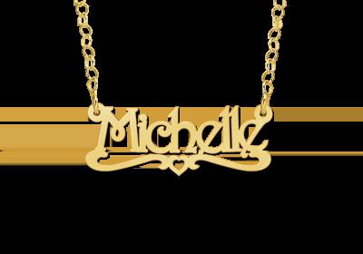 Gouden kinder naamketting model Michelle Gepersonaliseerd